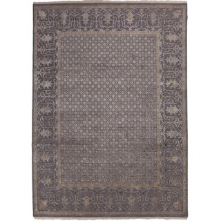 Handmade Oriental Pattern Gray/ Tan Wool/ Silk Rug (10 x 14)