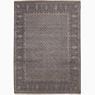Hand-Made Oriental Pattern Gray/ Tan Wool/ Silk Rug (9x12)