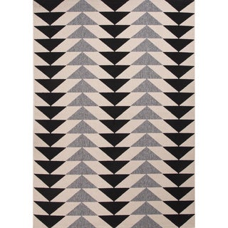 Handmade Ivory/ Black Polypropylene Easy Care Area Rug (7'11 x 10')