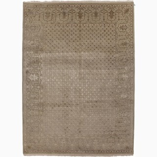 Hand-Made Oriental Pattern Taupe/ Tan Wool/ Silk Rug (9x12)