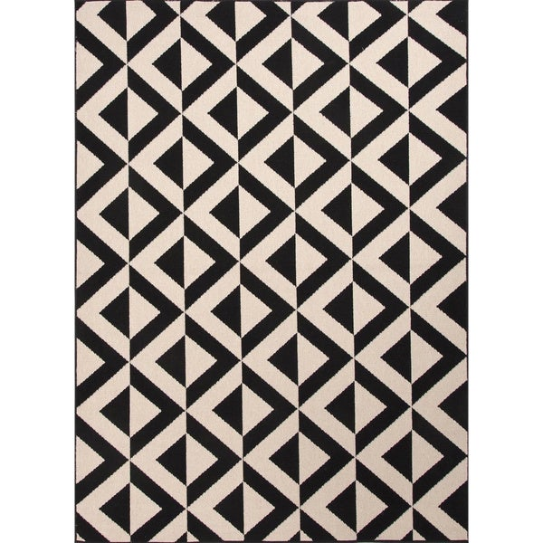 Handmade Ivory/ Black Easy Care Rug