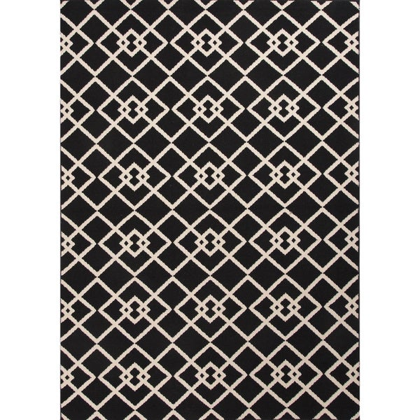 Handmade Black/ Ivory Easy Care Rug