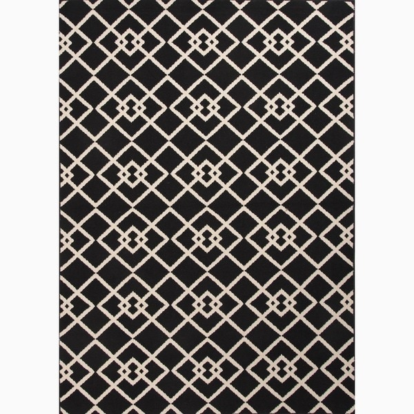 Hand-Made Black/ Ivory Easy Care Rug