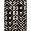 Hand-Made Black/ Ivory Polypropylene Easy Care Rug (2x3.7)