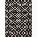 Hand-Made Black/ Ivory Polypropylene Easy Care Rug (5.3x7.6)
