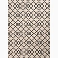 Hand-Made Ivory/ Black Polypropylene Easy Care Rug (5.3x7.6)