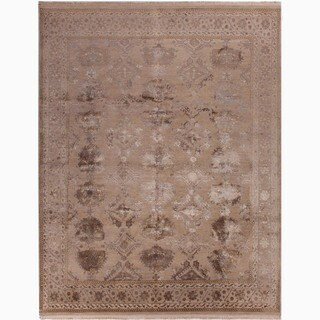 Hand-Made Oriental Pattern Taupe/ Gray Wool/ Silk Rug (10x14)