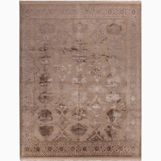 Hand-Made Oriental Pattern Taupe/ Gray Wool/ Silk Rug (9x12)