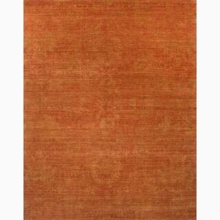Hand-Made Orange Wool Durable Rug (9x12)
