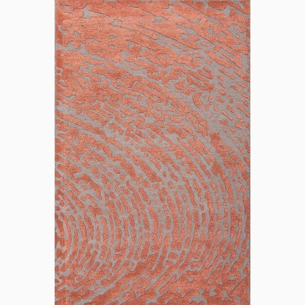Hand-Made Red/ Gray Wool/ Art Silk Textured Rug (9x12)