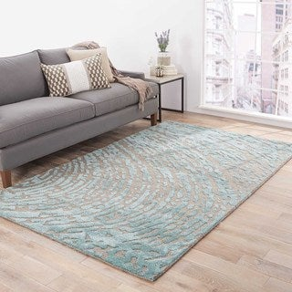Hand-Made Gray/ Blue Wool/ Art Silk Textured Rug (9x12)
