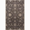 Hand-Made Oriental Pattern Gray/ Ivory Wool Rug (9x12)