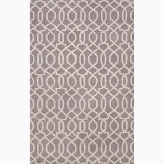 Hand-Made Gray/ Ivory Wool Textured Rug (8X11)