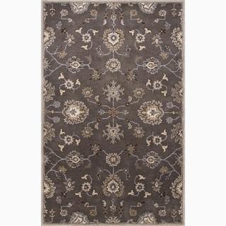 Hand-Made Oriental Pattern Gray/ Ivory Wool Rug (3.6X5.6)