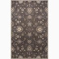 Hand-Made Oriental Pattern Gray/ Ivory Wool Rug (2X3)