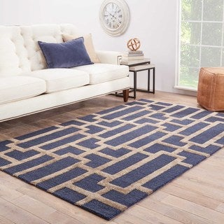 Hand-Made Geometric Pattern Blue/ Tan Wool/ Art Silk Rug (9.6x13.6)