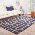 Hand-Made Geometric Pattern Blue/ Tan Wool/ Art Silk Rug (9.6x13.6)