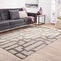 Hand-Made Geometric Pattern Ivory/ Gray Wool/ Art Silk Rug (9.6x13.6)