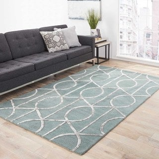 Hand-Made Geometric Pattern Blue/ Gray Wool/ Art Silk Rug (9.6x13.6)