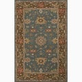 Hand-Made Blue/ Brown Wool Easy Care Rug (5X8)