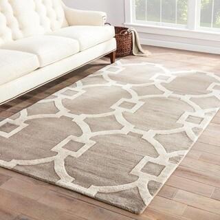 Hand-Made Geometric Pattern Gray/ Ivory Wool/ Art Silk Rug (9.6x13.6)