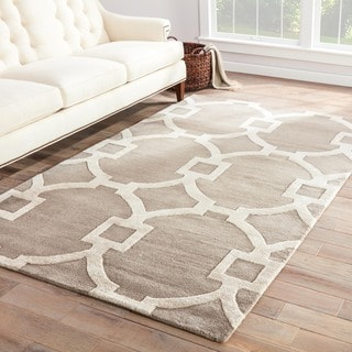 Hand-Made Geometric Pattern Gray/ Ivory Wool/ Art Silk Rug (8X11)