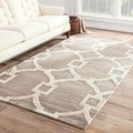 Hand-Made Geometric Pattern Gray/ Ivory Wool/ Art Silk Rug (2X3)