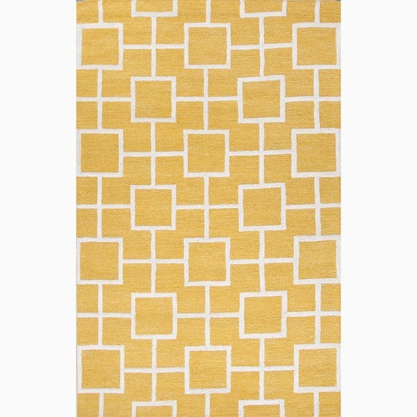 Hand-Made Yellow/ Ivory Wool/ Art Silk Textured Rug (8X11)