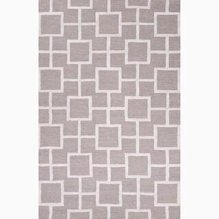 Hand-Made Gray/ Ivory Wool/ Art Silk Textured Rug (8X11)
