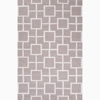 Hand-Made Gray/ Ivory Wool/ Art Silk Textured Rug (9.6x13.6)
