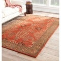 Hand-Made Arts and Craft Pattern Orange/ Brown Wool Rug (9x12)