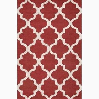 Hand-Made Geometric Pattern Red/ Ivory Wool Rug (8X11)