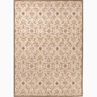 Hand-Made Arts and Craft Pattern Taupe/ Orange Wool Rug (8x10)