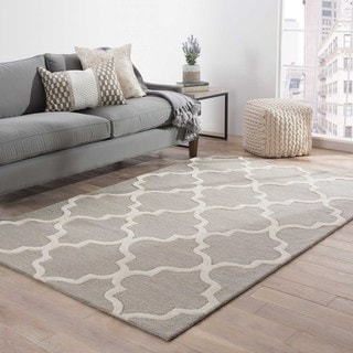 Hand-Made Geometric Pattern Gray/ Ivory Wool Rug (8X11)