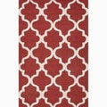 Handmade Geometric Pattern Red/ Ivory Wool Area Rug (5' x 8')