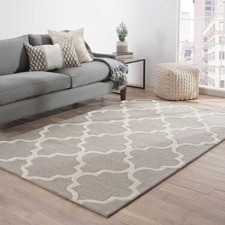 Hand-Made Geometric Pattern Gray/ Ivory Wool Rug (9.6x13.6)