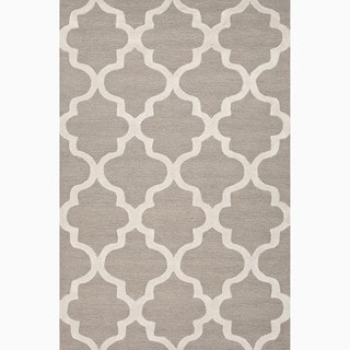 Hand-Made Geometric Pattern Gray/ Ivory Wool Rug (3.6X5.6)