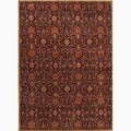 Hand-Made Arts and Craft Pattern Red/ Orange Wool Rug (9x12)
