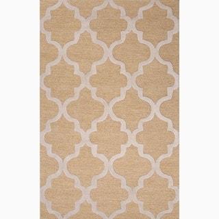 Hand-Made Geometric Pattern Taupe/ Ivory Wool Rug (8X11)