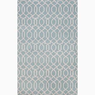 Handmade Blue/ Ivory Wool Te x tured Rug (8 x 11)