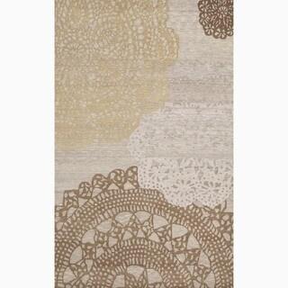 Handmade Abstract Pattern Brown/ Tan Wool Rug (8 x 11)