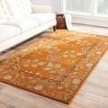 Handmade Arts and Craft Pattern Orange/ Green Wool Rug (8 x 10)