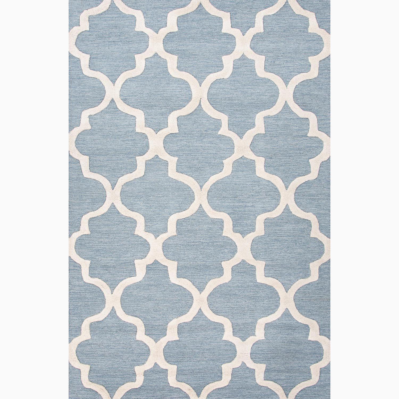 Handmade Geometric-pattern Blue/ Ivory Wool Area Rug (8 x 11)
