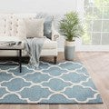 Hand-Made Geometric Pattern Blue/ Ivory Wool Rug (3.6X5.6)