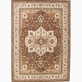 Hand-Made Oriental Pattern Brown/ Ivory Wool Rug (8x10)