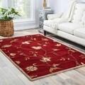 Handmade Floral Pattern Red/ Ivory Wool Rug (8 x 10)