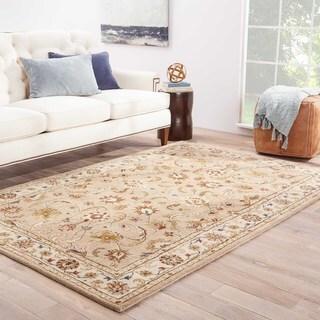 Handmade Oriental Pattern Taupe/ Ivory Wool Rug (8 x 10)