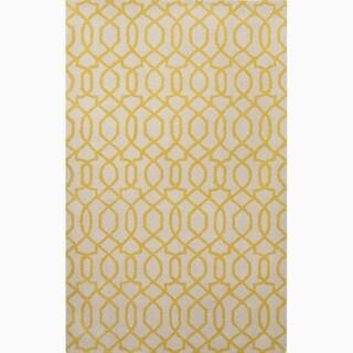 Handmade Ivory/ Yellow Wool Te x tured Rug (8 x 11)
