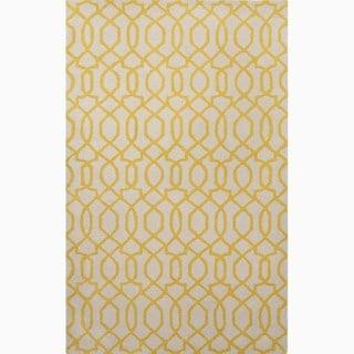 Handmade Ivory/ Yellow Wool Te x tured Rug (9'6 x 13'6)