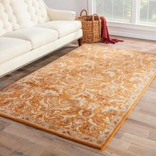 Handmade Oriental Pattern Orange/ Ivory Wool Rug (8 x 10)